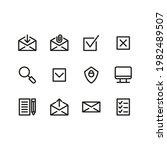 simple shape icon set outline...