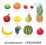 fruit low poly style  | Shutterstock .eps vector #198249089