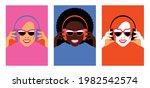 bright women in headphones. set ...   Shutterstock .eps vector #1982542574