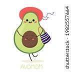 pregnant and happy avocado mom... | Shutterstock .eps vector #1982557664
