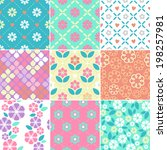 Stock vector set of seamless simple flowers patterns 198257981