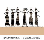 african women with jugs and... | Shutterstock .eps vector #1982608487