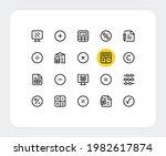 calculator vector line icons....