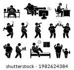 fat man leading an unhealthy... | Shutterstock .eps vector #1982624384