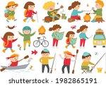 cute hiking kids doing summer... | Shutterstock .eps vector #1982865191