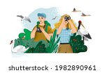 man takes photos of animals in... | Shutterstock .eps vector #1982890961