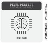 high tech thin line icon. brain ... | Shutterstock .eps vector #1982894267