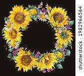watercolor sunflowers summer...   Shutterstock . vector #1982966564