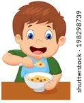 boy is having cereal for... | Shutterstock .eps vector #198298739