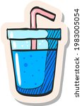 hand drawn soft drink icon in...