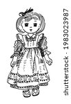 cute vintage doll in dress and...   Shutterstock .eps vector #1983023987