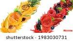 fruit burst  splash of juice.... | Shutterstock .eps vector #1983030731