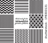 set of black and white seamless ... | Shutterstock .eps vector #198303131