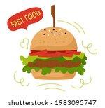 fast food burger takeaway color ... | Shutterstock .eps vector #1983095747
