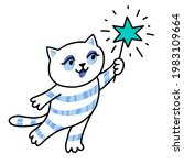 cute cat with magic wand.... | Shutterstock .eps vector #1983109664