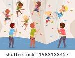 rock climbing wall. boys and...   Shutterstock .eps vector #1983133457