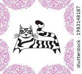 cute cartoon cat. vector...   Shutterstock .eps vector #1983148187
