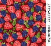 pattern of ripe strawberries...   Shutterstock .eps vector #1983191897