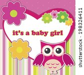 baby shower card for girl. | Shutterstock .eps vector #198326411