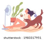 girl and her dog are chilling... | Shutterstock .eps vector #1983317951