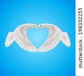 two white doves makes form of...   Shutterstock .eps vector #198332255