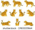 illustration set of tigers in... | Shutterstock .eps vector #1983335864