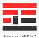 red and black tapes pieces set. ... | Shutterstock .eps vector #1983412487