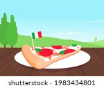 one slice of pepperoni pizza on ... | Shutterstock .eps vector #1983434801