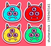 cute monster cartoon doodle... | Shutterstock .eps vector #1983465161