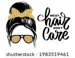 messy hair bun  aviator glasses ... | Shutterstock .eps vector #1983519461