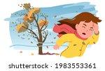 autumn strong wind storm. girl...   Shutterstock .eps vector #1983553361