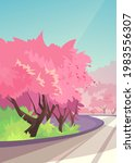 cherry blossoms along the road. ...   Shutterstock .eps vector #1983556307