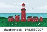 lighthouse on seashore. small... | Shutterstock .eps vector #1983557207