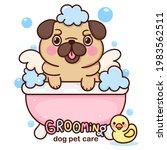 cartoon pug bath vector dog...   Shutterstock .eps vector #1983562511