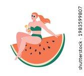 happy watermelon day concept... | Shutterstock .eps vector #1983599807