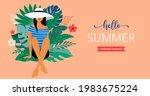 summer scene  young woman... | Shutterstock .eps vector #1983675224
