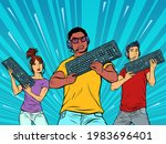 professional gamers with a... | Shutterstock .eps vector #1983696401