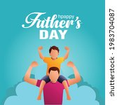 son on his father shoulders on... | Shutterstock .eps vector #1983704087