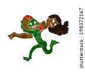 cartoon swamp monster carrying...