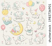 cute elephant collection....   Shutterstock .eps vector #1983736901