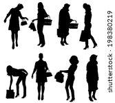 vector silhouette of women on a ... | Shutterstock .eps vector #198380219