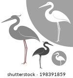 Heron. Abstract Birds On White...