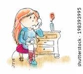 sitting girl talking by phone  | Shutterstock .eps vector #198393995