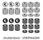 icon set of coins with the euro ... | Shutterstock .eps vector #1983966284