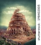 tower of babel as religion... | Shutterstock . vector #198402005