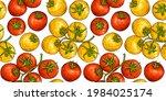 tomato sketch background.... | Shutterstock .eps vector #1984025174