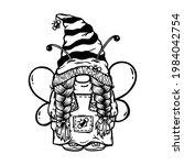 girl gnome honey bee  summer... | Shutterstock .eps vector #1984042754
