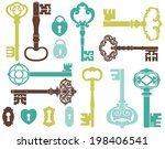skeleton keys  blue  | Shutterstock .eps vector #198406541