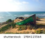 Old Green Boat Resting On The...