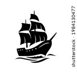 sailing old ship silhouette....   Shutterstock .eps vector #1984130477